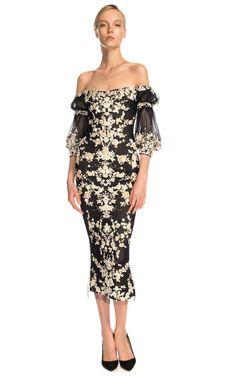 Marchesa Embroidered Cocktail Dress   vestido para fiestas con bordado de Marchesa