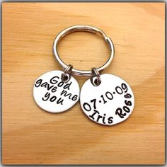Hand Stamped KeyChain God Gave Me You With by HandStampedSteel, $19.95