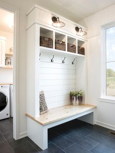 Mudroom design with custom built in lockers, locker storage in mudroom ideas, ho. Mudroom design with custom built in lockers, locker storage in mudroom ideas, hooks and bench in ba Mudroom Decor, Home, Mud Room Storage, Farmhouse Laundry Room, Mudroom Design, Mudroom Laundry Room, Room Makeover, Built In Lockers, Room Design