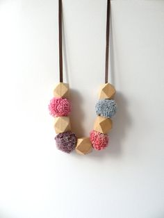 Pom Pom and bead necklace