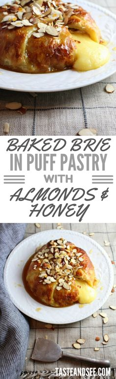 Baked Brie in Puff Pastry with Honey and Almonds via @h_tasteandsee