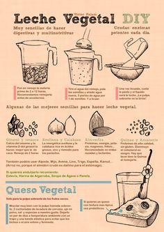 Receta para leche y queso Vegetales - Recipe for Vegetable milk and cheese Vegan Milk, Vegan Vegetarian, Vegan Food, Vegan Raw, Healthy Eating Tips, Healthy Drinks, Healthy Food, Healthy Habits, Yummy Food