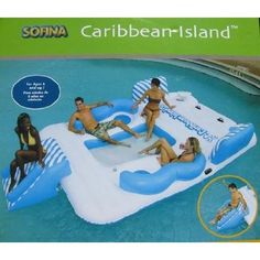 floating party islands for lakes   Sofina Inflatable Caribbean Island with Water Slide [Caribbean Island ...