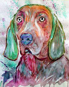 Weimaraner, Dog Painting, Red dog, weimaraner Print , fine art print Dog Art weimaraner gift idea weimaraner turquoise dog art… #dogs #art