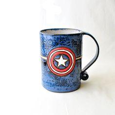 Captain America Coffee Mug 23Ounce Large Avengers by GlazedOver, $42.00