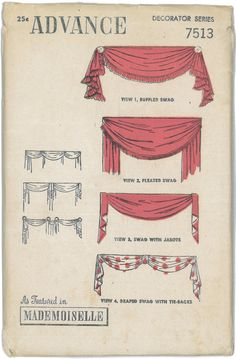 1930's 1940's FACTORY FOLDED Vintage Swag Valances by RetroFlos, $20.00