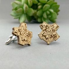 harry potter hogwarts crest | Custom Cufflinks Groomsmen Gifts | via EmmalineBride.com