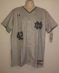 Notre Dame Mens Baseball Jersey Under Armour Spring 2016 Large Full Button NCAA #UnderArmour #NotreDameFightingIrish