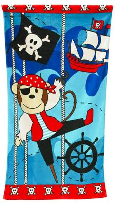 WILLIAM A. MCNEIL & CO. - Pirate Monkey Kids Beach Towel. #beachtowel