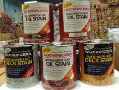 Deck Stain, check it out.  1 gallon for $19.99 at the Meaford Factory Outlet.