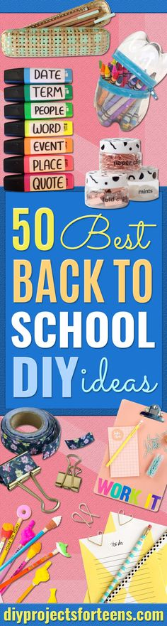 DIY School Supplies - Easy Crafts and Do It Yourself Ideas for Back To School - Pencils, Notebooks, Backpacks and Fun Gear for Going Back To Class - Creative DIY Projects for Cheap School Supplies - Cute Crafts for Teens and Kids http://diyprojectsforteens.com/diy-back-to-school-supplies
