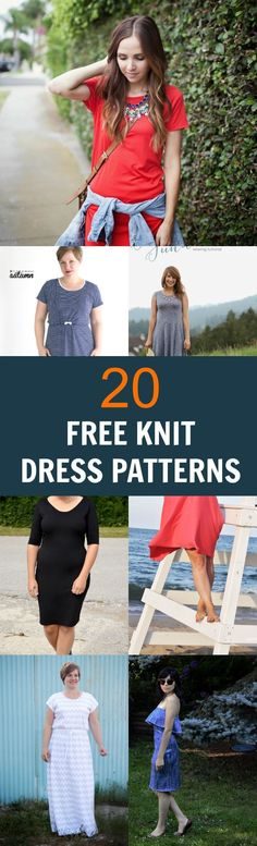 20 FREE knit dress patterns: Learn how to make a beautiful and easy knit dress with this great compilation of free designs.