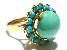 INCREDIBLE 14K YELLOW GOLD ART DECO PERSIAN TURQUOISE WOMENS COCKTAIL RING SIZE9