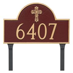 Montague Metal Classic Arch with Fluted Cross Address Sign Lawn Plaque - PCS-0096S1-L-BRS