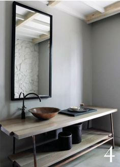beautiful minimal rustic bathroom_open shelf vanity, vessel sink, black framed mirror_Ruth Duke-designed bathroom, South Africa #colour