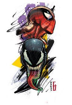 Spider-Man Vs. Venom Spiderman Tattoo, Spiderman Drawing, Spiderman Art, Amazing Spiderman, Nerdy Tattoos, Anime Tattoos, Marvel Art, Marvel Heroes, Cartoon Drawings