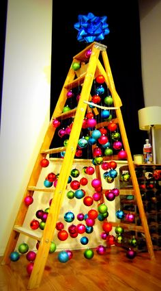 Urban Christmas Tree. Ladder Tree with hanging ornaments. Urban Holiday - Lofty and Bright.