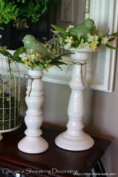 pretty spring decor: birds, flowers, candle holders