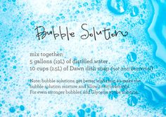 Receta de solución para burbujas de jabón...