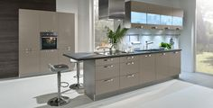 Modern Hacker German luxury kitchen in 1030 BASALT GREY.  Available from Scammell Interiors in York, Yorkshire. #modern #kitchens #luxury #York #hacker #basalt