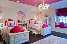 Girl's bedroom girly room pink home decor bed white purple design chandelier interior dressers Girls Bedroom, Twin Girl Bedrooms, Teenage Girl Bedroom Designs, Girls Room Design, Small Room Design, Baby Bedroom, Bedroom Decor, Bedroom Ideas, Twin Girls