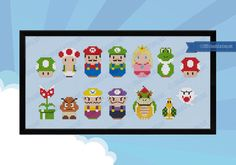 Super Mario parody Cross stitch PDF pattern por cloudsfactory