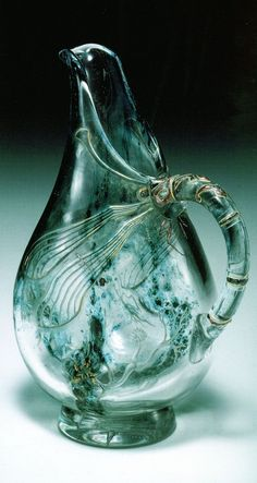 Beautiful Turquoise Dragonfly Pitcher by (Emile Galle)