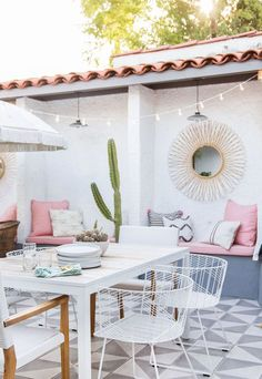 Dreamy white and pink patio, perfect for entertaining.