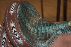 Double J Saddlery.. Omg!! This is seriously my dream saddle!! Buck stitching.. aztec design all over! I need this saddle! @Kimberleigh Boyer @Caylee Cooper