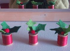 LucyKate Crafts...: Easy peasy (no sewing involved!), cotton reel & holly ornament...,