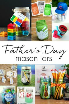 Father's Day mason jar gift ideas - homemade gift ideas using mason jars for Father's Day. Kids craft ideas for Father's Day using mason jars. Gift ideas for Father's Day.