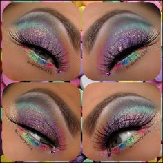 A rainbow of shimmery pastel eye shadows with a single crystal accent titled 'Candy Coated Glam'.