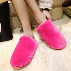 Women Flat Heels Wool Slippers