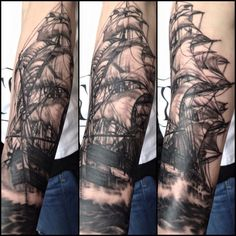 Pirate Ship Tattoo Black and Grey