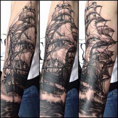 Pirate Ship Tattoo Black and Grey