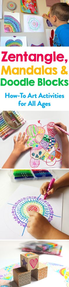 Easy step by step Zentangle, Mandalas, and a creative doodle game for kids and adults to promote your creativity. Drawing Activities, Art Activities For Kids, Art For Kids, Art Projects For Teens, Easy Art Projects, Kindergarten Art, Preschool Art, Kid Friendly Art, Art Classroom