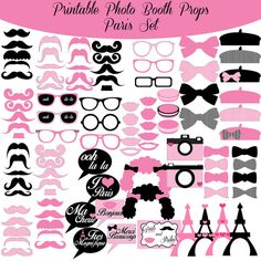 Paris French Pink And Black Printable Photo Booth Photobooth Props www.amandakeyt.com Enjoy Life! Buy the app!