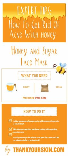 Expert Tips How To Get Rid Of Acne fast and overnight With Honey. Treat Acne with natural remedies and DIY face mask #AcneRemedies #Honey #ThankYourSkin