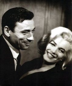 "Lovely shot of Marilyn and her co-star Yves Montand on the set of ""Let's Make Love"" in 1960."