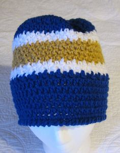 6cb3054fcdc Crochet Sports NFL Inspired Beanie in St. Louis Rams by Kitkateden