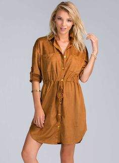 A boho princess like you deserves to live the *suede* life, and this faux suede shirt dress is how you should do it.