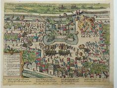 Utrecht; Frans Hogenberg - Belegerung dess Schloss Vredenburch zu Utrecht angefangen am 31 decemb Anno 1576 und ingenummen am XI februarij Anno 1577 - ca. 1600 Oudtijds gekleurde kopergravure met oorlogsperikelen in Utrecht met het Slot Vredenburg gedurende de 80-jarige oorlog.