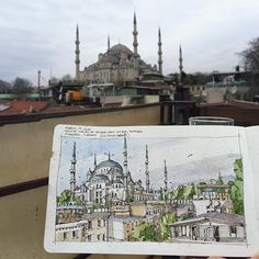 Hanging out on the terrace of my airbnb sipping tea and sketching the Blue mosque. It can't get much better than this :) #urbansketchers #sultanahmet @moleskine @winsornewton