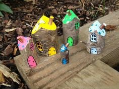 Fairy and elf homes Wood Crafts elf Fairy homes Woodland Kids Crafts, Wood Crafts, Garden Crafts, Garden Projects, Forest School Activities, Woodland Elf, Outdoor Crafts, Nature Crafts, Forest Crafts