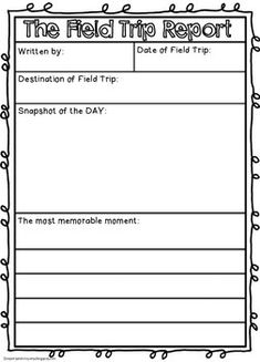 Free Field Trip Report kindergarten 1st grade 2nd grade 3rd grade goes with any field trip