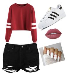"""Mall today"" by adriannareyes ❤ liked on Polyvore featuring Boohoo, adidas and Lime Crime"