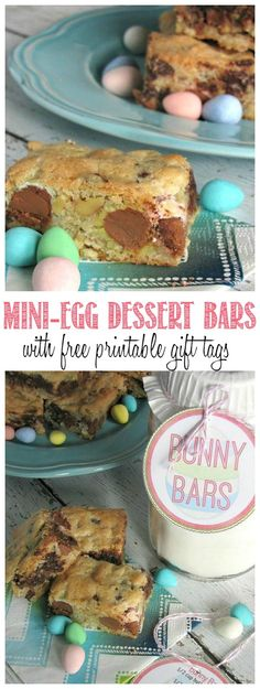 If you love mini-eggs, you will love these Easter dessert bars!  Use the dry ingredients to create a fun and easy Easter gift idea with free printables included!