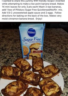 A favorite, low point comfort food. Easy to make … Enjoy A favorite, low point comfort food. Easy to make … Enjoy – Weight Watchers Breakfast, Weight Watchers Desserts, Weight Watcher Banana Bread, Weight Watchers Muffins, Sugar Free Recipes, Ww Recipes, Diabetic Recipes, Bread Recipes, Recipies