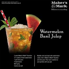 Watermelon Basil Mint Julep - Layers of herbal, fruity depth meet their minty, bourbon-y counterpart in this deliciously bold spin on a race-day favorite. #MakeItDelicious