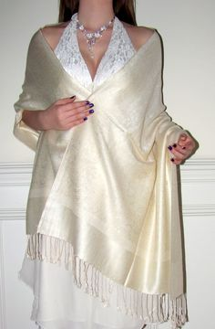 Wedding shawls white ivory cream beautiful and affordable at $24.99 for the brides and bridesmaids shawls.